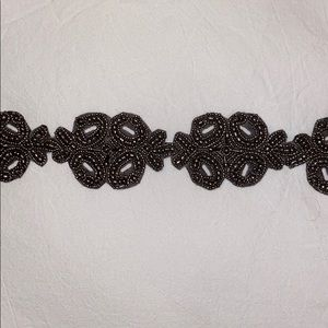 Stretchy Charcoal Grey Beaded Anthropologie Belt